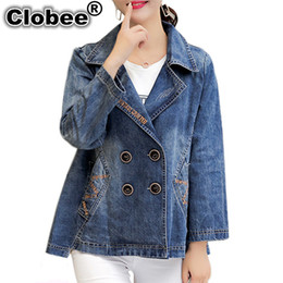 Wholesale Plus Size Office Jackets - Clobee 2018 Autumn Women Oversized Jeans Jackets coats outerwear Ladies Office Plus Size Loose Embroidered Vintage Denim Jacket