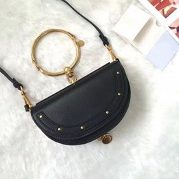 Wholesale Mobile Offering - 2017 Special Offer Real Summer Small Mobile Phone Bag Metal Ring Half Moon Handbag Shoulder Corssbody Mini Cloe Genuine Leather