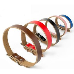 Wholesale extra strong - New Arrival Cowhide Leather Pet Collar Strong Dog Pet Collar leashes XS S M XL Blue Black Red Coffee Pink