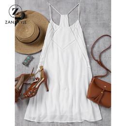 Wholesale Tank Bandage Backless Dress - ZAN.STYLE Summer Sheer Back Zip Slip Mini Dress Halter Strap backless bandage dress hollow out white Vest tank Beach Boho