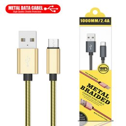 mejor cable hdmi Rebajas Cable micro USB de lujo Cable metálico trenzado para rayos 1M 3FT Tipo C Cable de datos de carga rápida para cargador de Samsung Cables con paquete