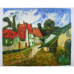 2019 telai di pittura a olio del villaggio Quadro Dipinti ad olio dipinti a mano da Vincent Van Gogh Village Street nella pittura Auvers per decorazioni murali sconti telai di pittura a olio del villaggio