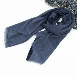 Wholesale muffler scarf for men - Twill Cotton Linen Pashmina Scarf For Men Fashion Autumn Winter Soft Male Vintage Scarves Stole Muffler Navy Black 200cmx80cm