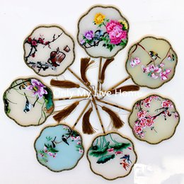 Wholesale bamboo fabric china - Full Handmade Mulberry Silk Hand Fans Flowers Double Embroidered Chinese Gift Fan High End Bamboo Handle Decorative Fan Wedding