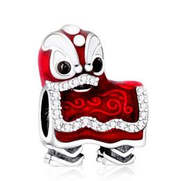 925 sterling silber chinesische perlen online-Valentines Chinese Lion Dance Charms Perle 925 Sterling Silber Emaille Tier Perlen Für Schmuck Machen DIY Armbänder Zubehör HB716