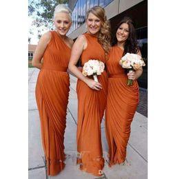 Drapiertes hemd online-Burnt Orange Bridesmaid Dresses 2017 One Shoulder Draped Dress Long Maid Of Honor Dresses With Split