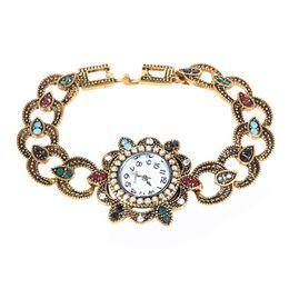 relojes antiguos pulsera pulsera Rebajas Marca de Lujo Pulsera Turca Relojes de Oro Antiguo de Color de Las Mujeres Vintage Pulseras Brazaletes Relojes Mujer Muñeca Hueca Joias