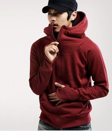 Wholesale gray sweaters for men - Popular Men's Cashmere Sweater Pure Color Hip Hop Hoodie Coat New Fashion Hooded Hoodies For Man