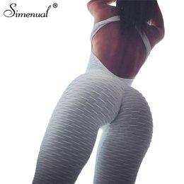 blanco ropa deportiva Rebajas Simenual bodybuilding sportswear largo mono cuerpo para mujeres sin respaldo push up mono de gimnasio peleles vendaje trajes blancos
