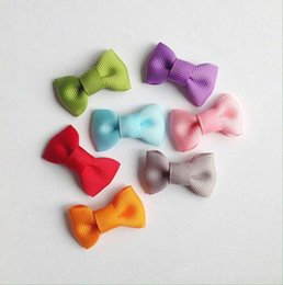 Wholesale Hair Cut Clips - Cut mini tie bow clip, toddle bow clip, Solid Ribbon bow Snap Clip 100pcs