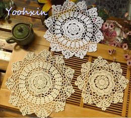 Wholesale crochet hot pads - HOT Round lace cotton table place mat pad Cloth crochet placemat cup mug Party Christmas coffee coaster dining doily kitchen