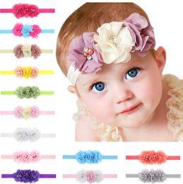Wholesale Hair Bow Pearl Chiffon - 12cm three handmade chiffon flower Headbands with pearl diamond Baby Girls Hair bows children fashion hair accessories