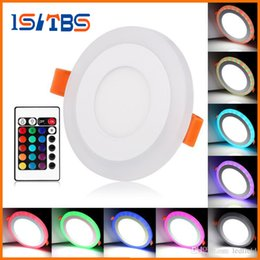 Wholesale 12 Led Downlight - LED Panel Lights 3 6 12 18W Round Concealed Dual Color LED Panel Light Cool White Lamp Acrylic Downlight AC 110 220V