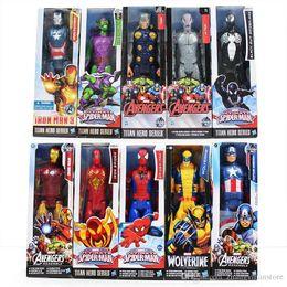 Giocattolo di ragno diy online-30cm Super Heros The Avengers Iron Man Spider Man Capitan American Wolverine PVC Toy Action Figure Modello Con Scatola Spedizione Gratuita