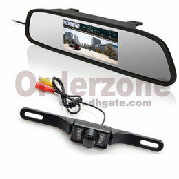 """Wholesale Mirror License Plates - 4.3"""" LCD Car Rear View Mirror Monitor License Number Plate 7 IR LED Night Reverse Parking Waterproof Camera"""