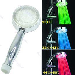 Wholesale Rgb Color Temperature - Romantic Temperature Sensor 3 Color RGB LED Light Water Shower Head Bathroom A18