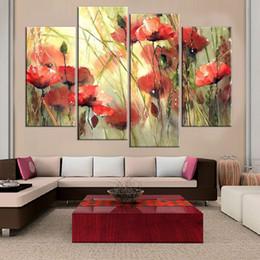 Çerçevesiz Çiçek Baskı Tuval Üzerine Duvar Boyama Sanat Baskı ve Poster Ev Dekorasyon Yağlıboya Resim Oturma Odası için 4 adet nereden poster basımı ev tedarikçiler