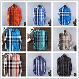 Wholesale Korean New Design Shirt - New Arrival 2018 Spring autumn Men Shirt Korean Style Design Casual Mens Plaid Shirts Long Sleeve 100% cotton fashion shirts M-2XL