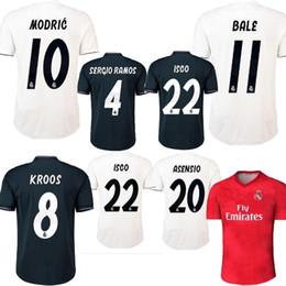 Camiseta de fútbol de la nueva versión de la Liga de Campeones Jersey 18/19 Camiseta de fútbol ROMAS de la calidad real del Real Madrid Camiseta de fútbol MODRIC KROOS ISCO ASENSIO de la MODIFICACIÓN uniforme desde fabricantes