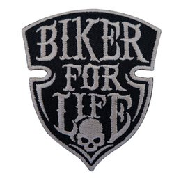 Wholesale Bikers T Shirts - Embroidery Patch Sew Iron On Biker For Life Punk Skull Rock Embroidered Patches Badges For Bag Jeans Hat T Shirt DIY Appliques Decoration