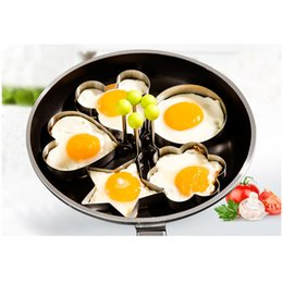 Wholesale Cooking Paste - 5pc  Set Cooking Gadgets Egg Tools Stainless Steel Egg Mold Poacher Boiler Fryer Cooker Pancake Ring Paste Batter Cake Mould