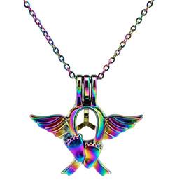 C697 Color del arco iris encantador Angel Baby Foot Beads Jaula Colgante de Aceite Esencial Difusor Aromaterapia Perla Jaula Locket Colgante de Collar desde fabricantes