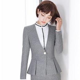 Wholesale formal tops for ladies - New Arrival Autumn Winter Long Sleeve Formal OL Styles Grey Blazers Jackets Coat For Ladies Office Outwear Female Tops Clothes