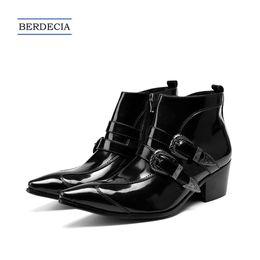bdcb0dccd 2019 фирменные мужские туфли 2018 Модный Бренд Натуральная Кожа Мужчины  Сапоги Черный Острым Носом Пряжки Ботильоны