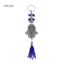Mauvais œil nouveau bijoux de mode mauvais œil porte-clés pendentif Tenture murale amulette bleue kabbalah main fatima anneau porte-clés ? partir de fabricateur