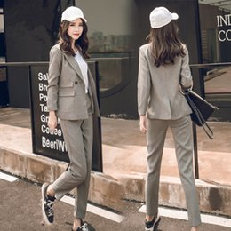 Wholesale women two piece formal set - 2018 Fashion Women Suits Two Piece Grey Blazer Set Pants Long Sleeve Trouser Suit Casual Loose OL Formal Women Blazer Pants Suit