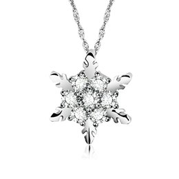 Wholesale Gold Crystal Snowflake Charm - Charm Vintage Crystal Snowflake Pendant Necklaces For Women Ladies Wedding Jewelry Rhinestone Zircon Flower Necklace Christmas Gift
