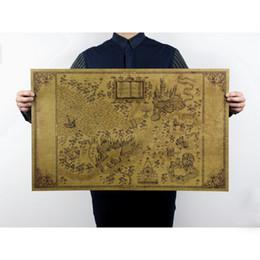 51 * 33 cm Mapa del mundo mágico de Harry Potter Carteles de películas Decoración mural Sin marco Restauración Formas antiguas Pegatinas de pared desde fabricantes