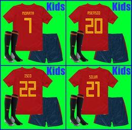 Wholesale spain soccer jersey kids - Thailand KIDS Spain soccer jerseys 2018 world cup football Kits kids uniform with socks camisetas de futbol MORATA ASENSIO ISCO SILVA RAMOS