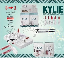 Wholesale Halloween Mascara - Kylie Makeup Set 8in1 Kit Creme Matte Liquid Lipstick & Lip Liner Eyeliner Sharpener Eyebrow Pencil Mascara Eyeshadow Glitter Pen 8 in 1 Set