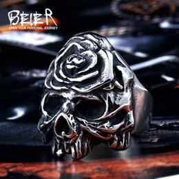 Wholesale Skull Wings Rings - whole saleBeier new store 316L Stainless Steel ring Winged Flower On Skull Ring Cool Punk Biker Jewelry LLBR8-411R