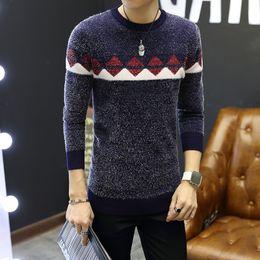 Wholesale Coarse Yarn - Missoov autumn winter Brand Men Sweaters Mohair Yarn Wool Pullovers Knitted fashion slim Man Knitwear argylle tops blue red New