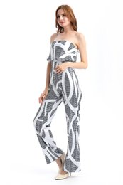 Wholesale Casual Jumpsuits For Women Plus - New White Jumpsuit For Women Floral Print Maxi Jumpsuit O-Neck Tube Top Sleeve Casual Long Rompers Plus Size Women Jumpsuits