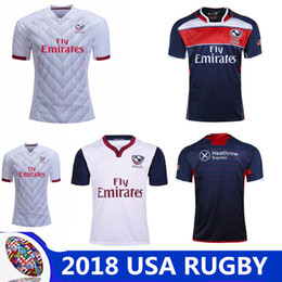 Wholesale usa rugby l - United States Rugby Shirts Top Thai best quality 2018- 2019 NRL National Rugby League USA Rugby jersey navy blue size S-3XL