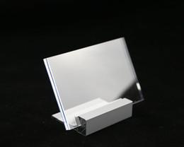 Tavolo per foto online-30 pezzi 90 * 60mm Cartellino del prezzo Logo Desk Sign Alluminio metallo Stand Nome Card Display Frame Tavolo Stand Picture Case Photo Stand Cornice acrilica