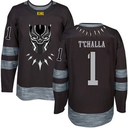 df85c3754 Black  1 T Challa The Panther Wakanda Movie Jersey 100% Stitched Ice Hockey  Jerseys Custom Any Name Any Number Free Shipping