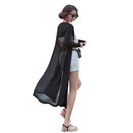 Schwarzer maxi-pullover online-Maxi Cardigan Feminino Knöchellangen Pullover Mantel Frauen Strick Langarm Korean Vintage Schwarz Übergroße Pullover Kleid