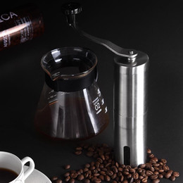 stainless steel coffee beans Promo Codes - Portable Coffee Grinder Stainless Steel Mini Manual Handmade Coffee Bean Mill Kitchen Tool Crocus Grinders NNA202