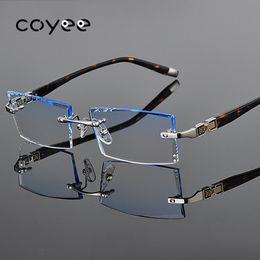 Brille geschnitten online-Coyee Randlose Brillen Rahmen schneiden Linsen Farbverlauf Brillen Frauen Männer Trimmen Diamond Glasses Frame