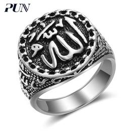 2019 anelli gotici neri di mens PUN 2018 bts accessori musulmano islam gotico antico anello vintage uomo sigillo anelli per uomo acciaio argento maschile anello nero sconti anelli gotici neri di mens