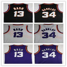 Wholesale Basketball Barkley - NCAA 2018 Hot Men jersey 13 Steve Nash Shirts 34 Charles Barkley Basketball Jerseys Adult boy Stitched Purple Orange Black White Jersey