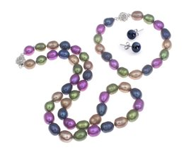 Wholesale beautiful culture - Hand made natural beautiful multicoloured 8-9mm baroque cultured freshwater Pearls necklace, bracelet earrings set fashion jewelry