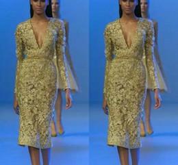 Langarm-taillenkleid online-Tee Länge Promi Abendkleider Tiefem V-ausschnitt Langarm mit Reich Taille Sexy Cocktail Prom Afrikanische Party Kleid BA7236