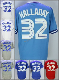 Wholesale Homes Toronto - 2018 Flexbase Toronto Blue #32 Roy Halladay Home Away Jersey Blue White Red Grey Black Beige Pullover Cool Base Stitched