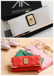 Wholesale korean bow clip - Brand 2018 Cow Kardashian Kollection kk Leather Women Wallets Ladies Short Wallet Female Money Clip Three Fold Purse