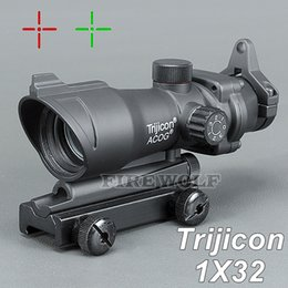 Wholesale red green dot - Trijicon ACOG 1X32 Telescopic Sight Red Green Dot Laser Sight 20mm Mounts Scope Sight for hunting